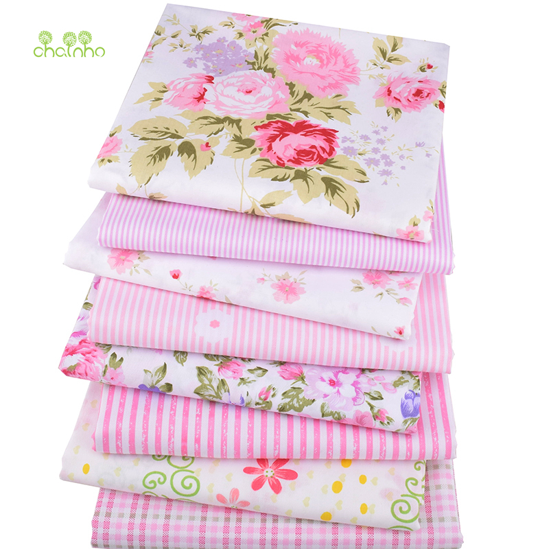 Chainho, 8pcs/lot,Twill Cotton Fabric Pink Floral Patchwork Cloth For DIY Quilting Sewing Baby&Children Sheets Dress Material