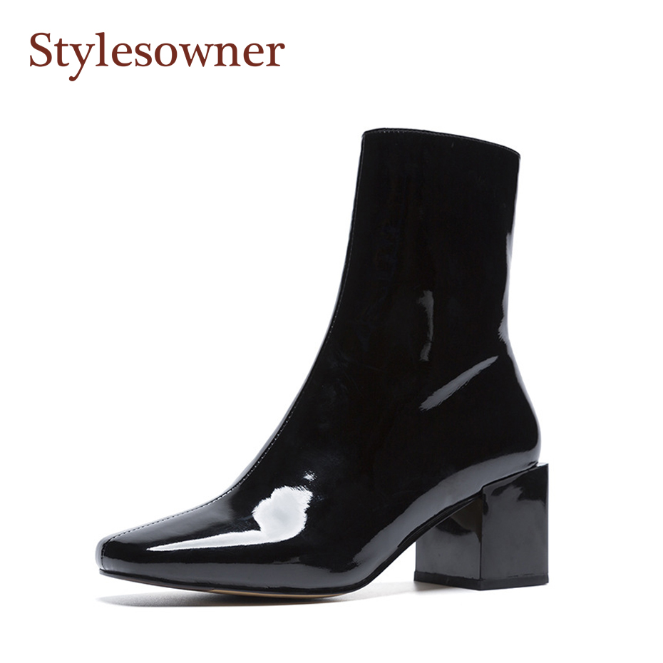 Stylesowner Solid Color Patent Leather Women Short Boots Pleated Leather Squared Toe Chunky Heel Side Zipper Fashionable Bootie stylish women s solid color pleated culotte
