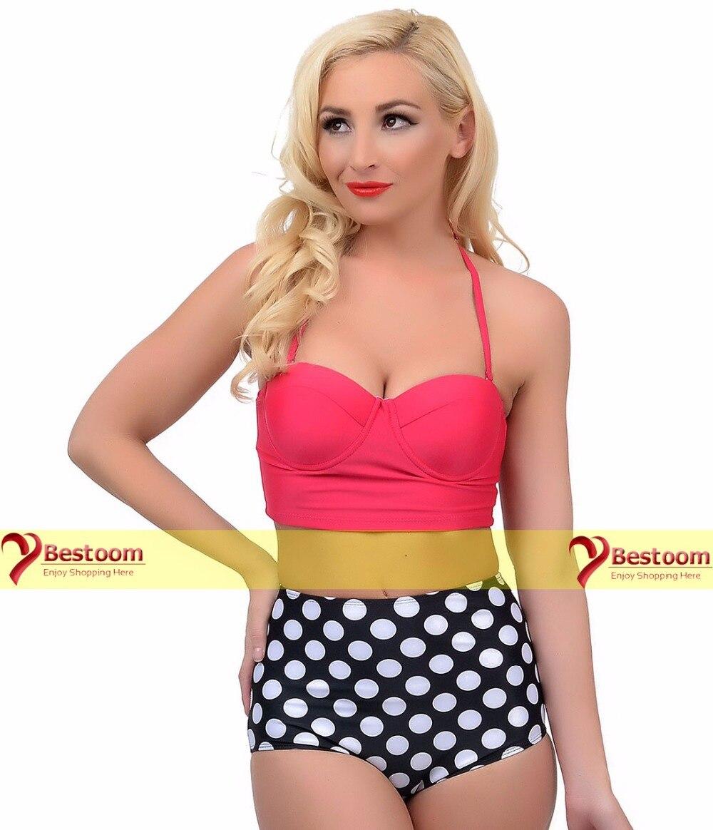 7dcbf84a9426c High Waist Bikini Vintage Pin Up Black & Red Dot Two Piece Bathing Suit  Halter Swim Top Bandeau Swimsuit Plus Size Swimwear on Aliexpress.com |  Alibaba ...