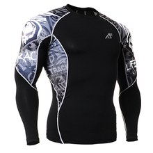 Sublimation Double Sides 3D Printing Mens Long Sleeves Exercises Compression T shirts Quick Dry Breathable Fitness
