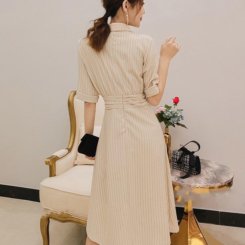 Deuxtwinstyle robe froncée pour femmes rayé col en V tunique taille haute robes longues été 2019 mode OL grande taille vêtements-in Robes from Mode Femme et Accessoires    3