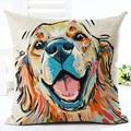 Square Cotton Linen colourfu Bull Terrier Painted Bull dog dachshund 3D Cheap Cushion Cover For Home Sofa Pillow Case Cojines