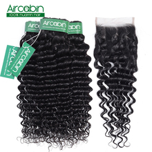 Peruvian Deep Curly Wave 3 Bundles With Closure Non Remy Hair Free/ Middle/ Three Part Lace Closure With Human Hair Bundles