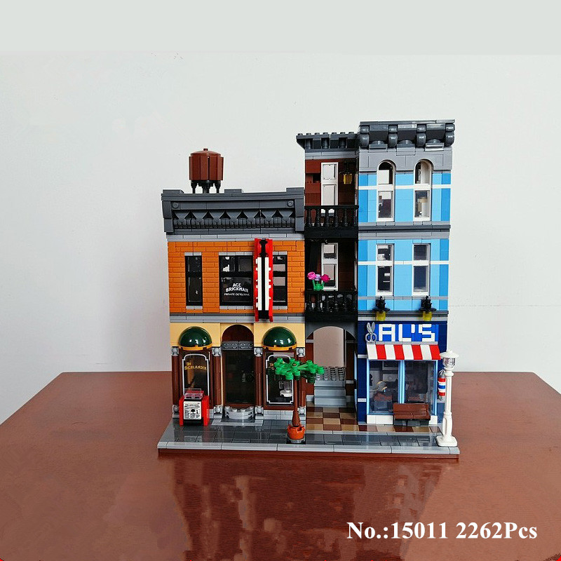 цена на H&HXY IN STOCK 15011 2262Pcs City Street Detective's Office Model Building Kit Blocks Bricks lepin Toy Compatible 10246 Gifts