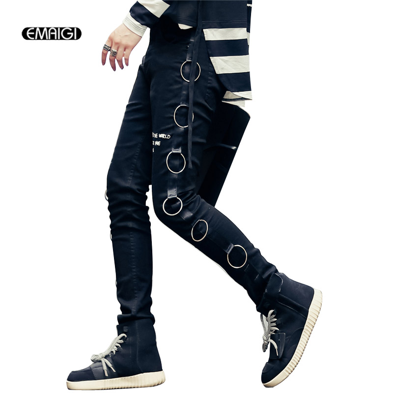 Autumn New Men Slim Fit Black Jeans Size Street Fashion Iron Ring Denim Pant Hip Hop Punk Style Casual Jean Trousers  2017solid black fashion women pants autumn rocker punk sexy style leggings street metallic femme casual slim pants