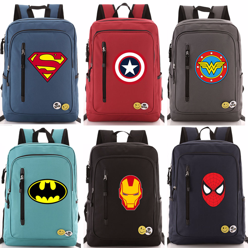 New Hot Comic Superman Batman Iron Man Spideman Boy Girl School Bag Women Zip Bagpack Teenagers Schoolbags Men Student Backpack image