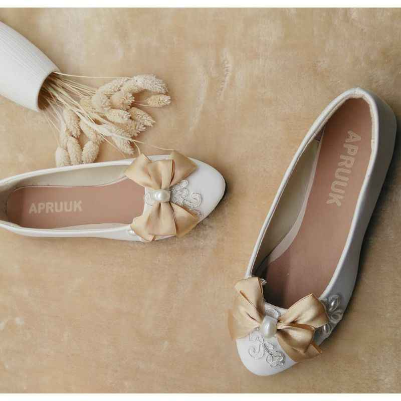 Flat heel shoes woman champagne satin bow butterfly-knot sweet ladies party proms dress flats shoes princess flats female