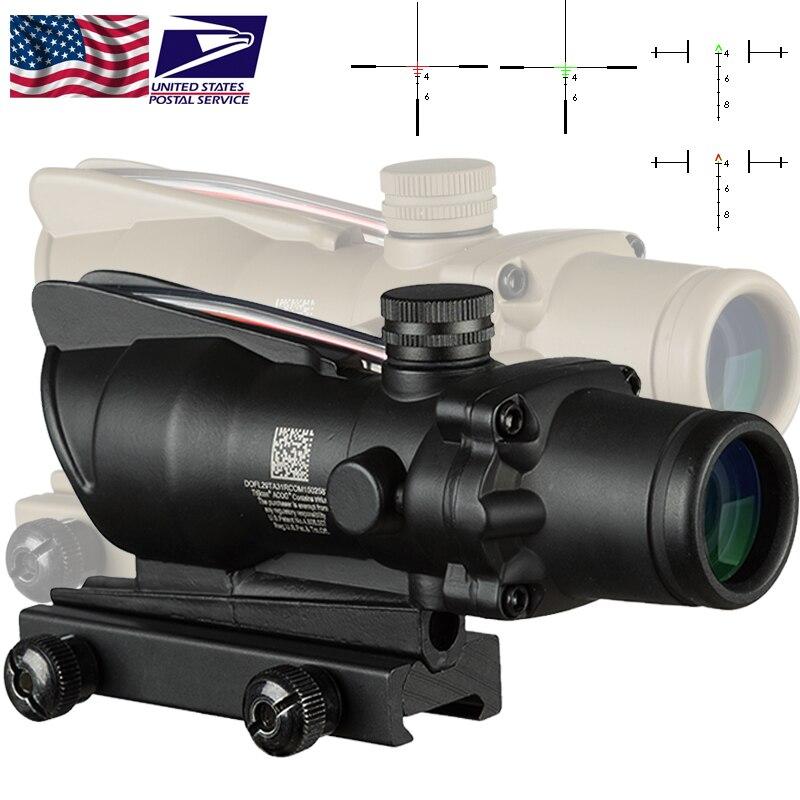 Trijicon ACOG 4X32 fibre Source rouge illuminé portée couleur noire tactique chasse lunette de visée