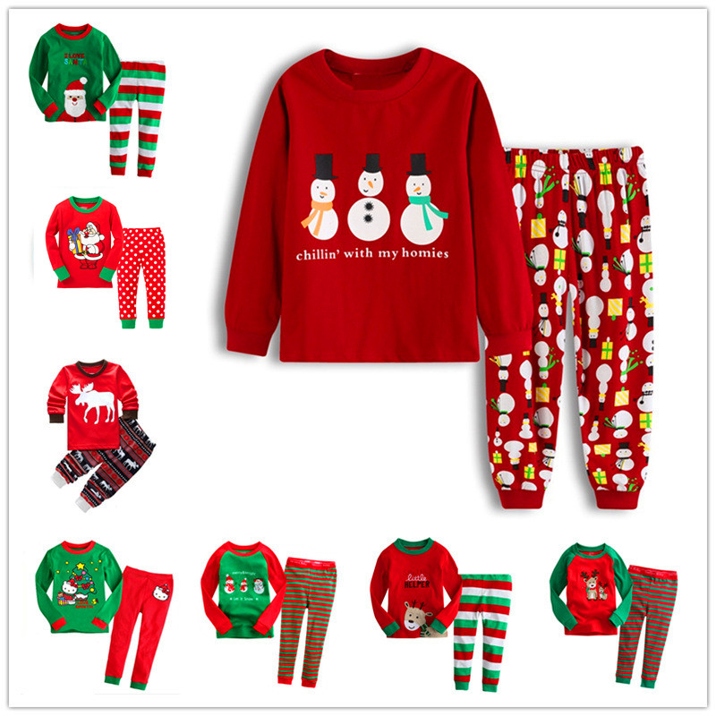 New Year Christmas Home Service Set Pajamas Cotton Children'S Wear Boys Girls Baby Cartoon Long Sleeve for kids boys 2T-7T H411 cotton spring thomas train children clothes set long sleeve sleepwear pajamas boy sports suit blue tracksuit for 2t 7t kids