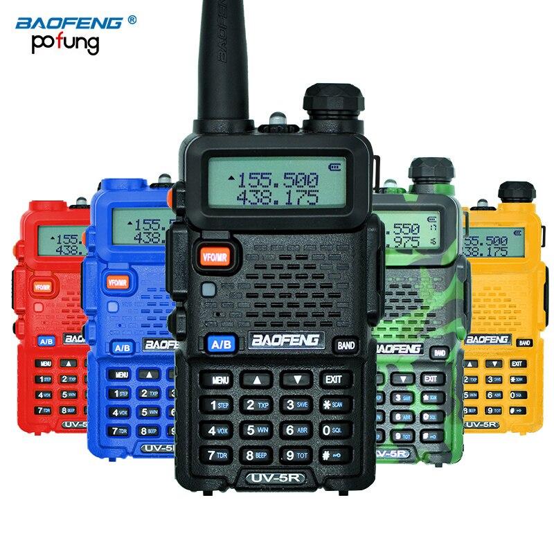 BaoFeng UV-5R Walkie Talkie CB Rádio Transceptor UV5R Baofeng 128CH 5 W VHF Profissional & UHF Handheld UV 5R Para caça Rádio