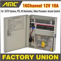 CCTV Power Box 16 Channel 12V 10A Support PTZ, IR Illuminator Access Control for 16CH DVR CCTV Camera Power Supply