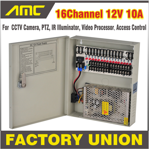 CCTV Power Box 16 Channel 12V 10A Support PTZ, IR Illuminator Access Control for 16CH DVR CCTV Camera Power Supply 16ch cctv power supply 12v 10a cctv camera ptz ir illuminator cctv power box for cctv security camera