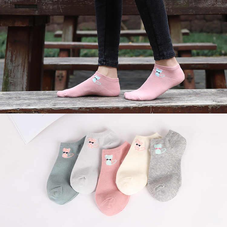 5 пар, женские забавные носки, повседневные носки с низким вырезом, милые хлопковые короткие носки с кошачьими мордочками, хит продаж, новинка