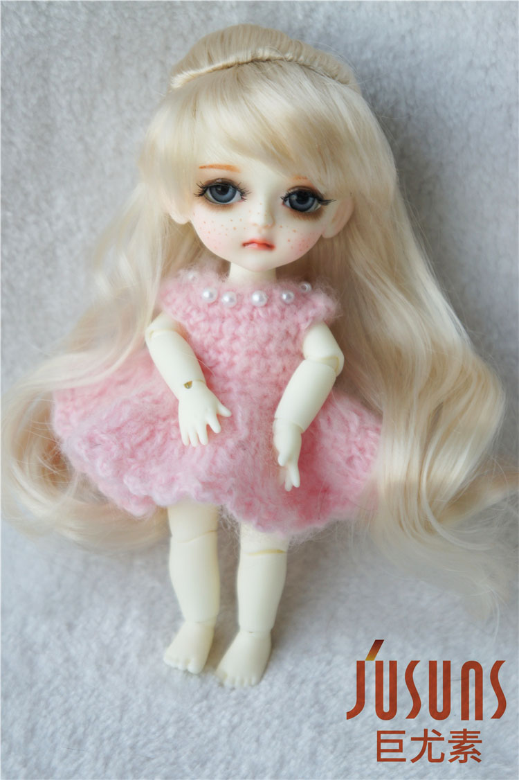 JD096 1/12 1/8 Long Wavy Pony Hair BJD Synthetic Mohair Doll Wigs Size 3-4 Inch 5-6inch Tiny BJD Hair