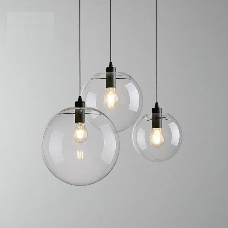 LukLoy Modern Glass Pendant Light Hanging Lamp Bedside Lamp Led Dining Room Hanging Lights Glass Ball Lamp Ceiling Hanging Light
