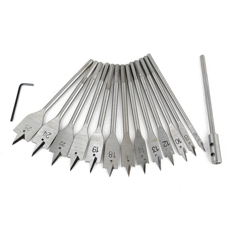 15pcs Full Steel Hex Shank Spade Flat Wood Drill Bit Set For Metal 6 25mm High