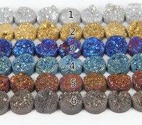Bán buôn số lượng lớn 10 cái & 20 mét tự nhiên titanium druzy loose hạt slab mặt dây, nguyên drusy quartz đá khoan vòng necklace