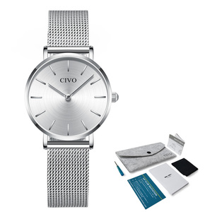 Image 5 - CIVO Fashion Wrist Watches For Women Waterproof Slim Steel Mesh Strap Quartz Watches Women Simple Casual Clock Relogio Feminino