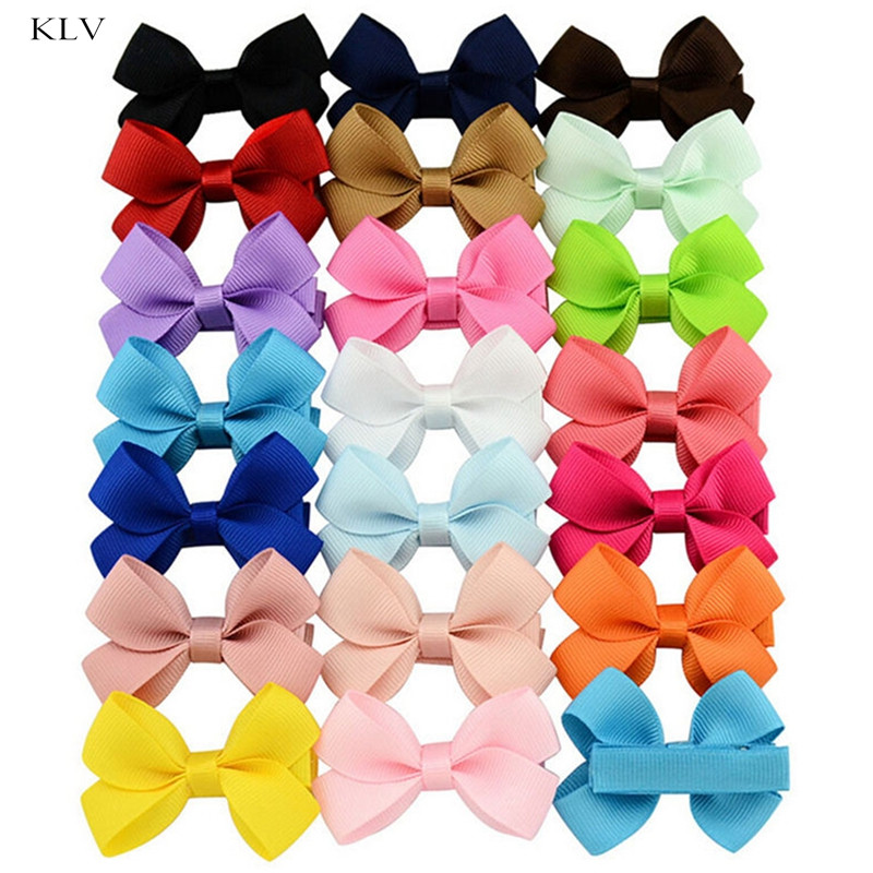 20Pcs Cute Hair Bows Boutique Alligator Clip Grosgrain Ribbon For Girl Baby Kids