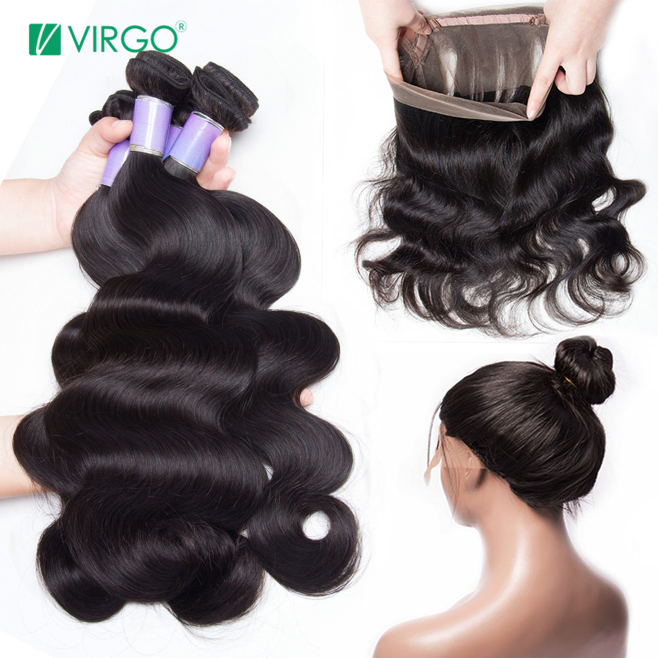 Virgo Brazilian Body Wave Hair 360 Lace Frontal Closure with Bundles Human Hair Bundles with Closure 4 Bundles/Lot Non Remy