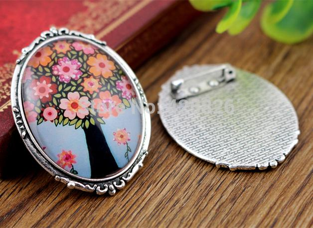 New Fashion  2pcs 30x40mm Inner Size Antique Silver Pin Brooch Flowers Style Base Setting Pendant (B4-19)
