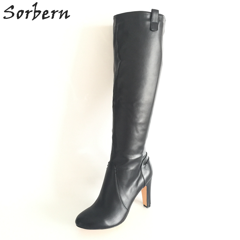 цена на Sorbern Black Soft Faux Leather Women Boots Knee High Round Toe Long Ladies Boots Square High Heels Shoes Ladies Side Zipper