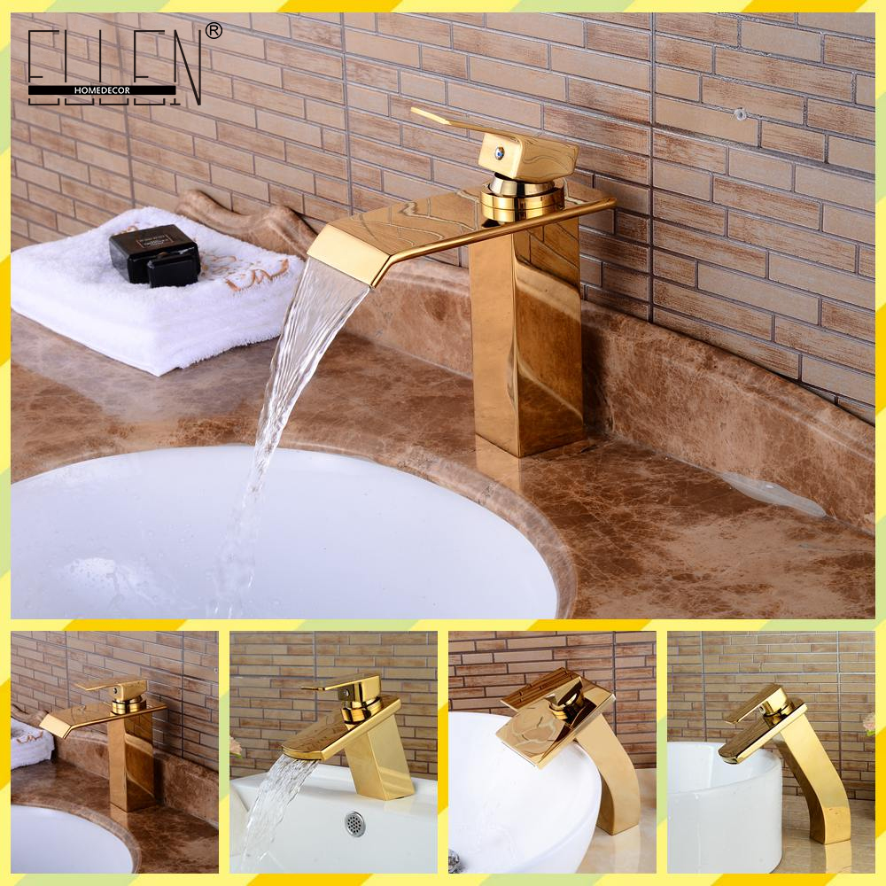 Waterfall Golden Bathroom Sink Faucet Gold Bath Faucets Single Handle Water Tap Tall Lanos Hot and Cold Water Mixer bathroom golden dual handle taps washbasin sink faucets hot and cold water mixer faucet