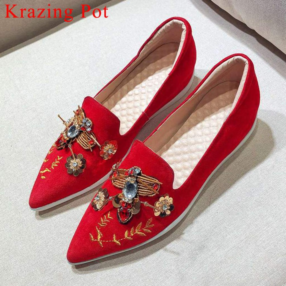 2019 new kid suede slip on ethnic style beauty accessories pointed toe oxford med heels breathable wedding vulcanized shoes L11