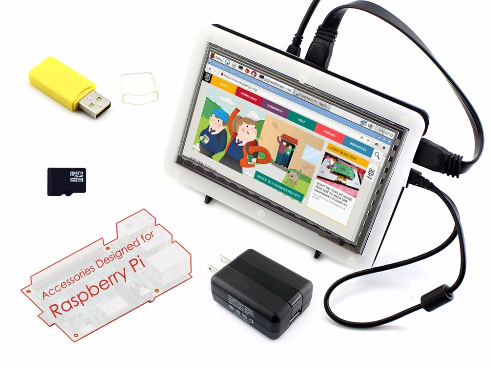 Parts Micro PC Raspberry Pi Accessory F =RPi 7inch HDMI LCD Capacitive Touch Screen + Bicolor Case+ 16GB Micro SD card + Power A 3 5 inch touch screen tft lcd 320 480 designed for raspberry pi rpi 2