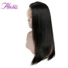 Alishes Wig Brasil Renda Depan Rambut Manusia Wig Untuk Wanita Remy Rambut Lurus Wig Dengan Bayi Rambut Garis Rambut Alami Knot Dikelantang