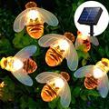 20 светодиодных солнечных гирлянд сказочные наружные водонепроницаемый имитация пчелы декор для сада патио цветочные деревья рождественск...