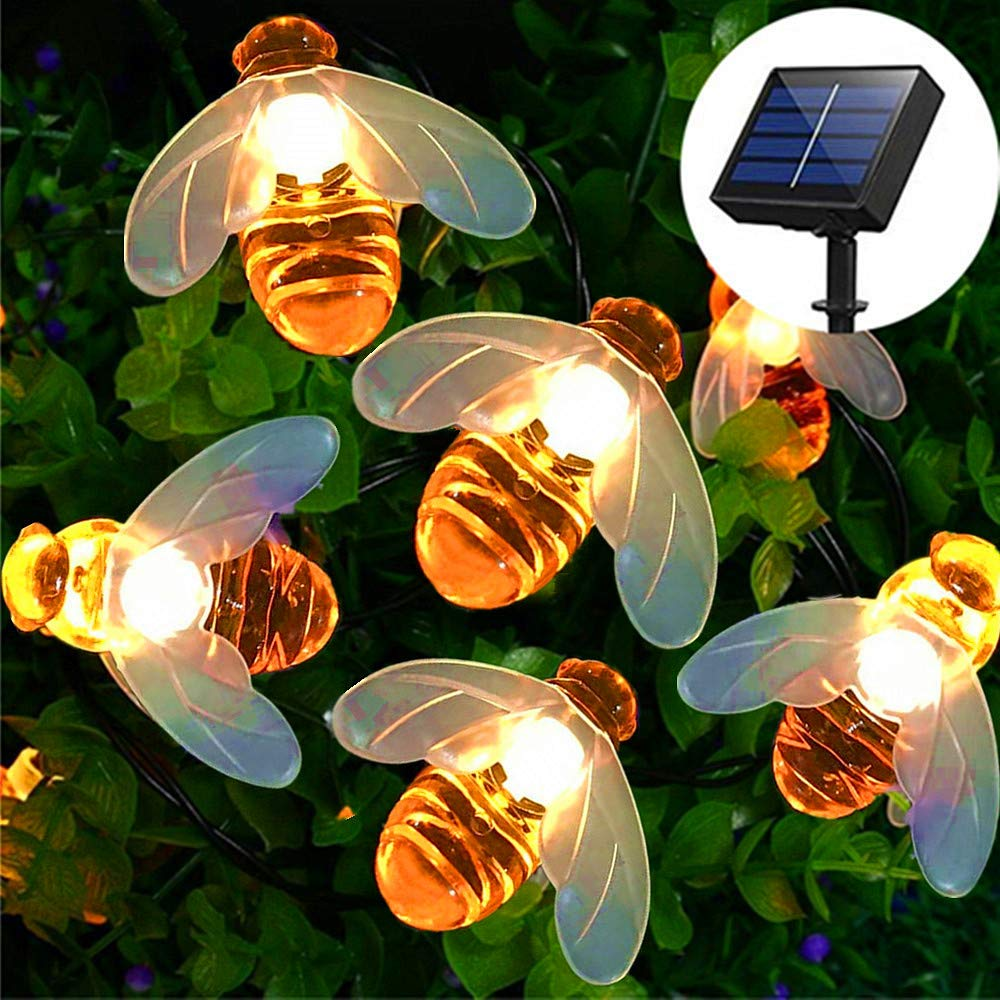 20 LED Solar String Lights  Fairy Outdoor Waterproof Simulation Honeybees Decor For Garden Patio Flower Trees Xmas Decorations