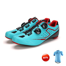 Santic Mens PRO Racer Road Cycling Shoes Carbon Fiber Sole Road Bike Bicycle Shoes Self-locking Scarpe Ciclismo Strada Gift
