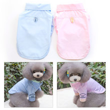 2016 New Design Pet Dog Vests Cheap 100% Cotton Puppy T Shirts Dog Summer Clothes For Teddy Chihuahua S-XXL Pink Blue PTa117