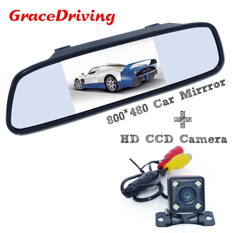 Новое поступление товаров парковки Комплект включает 4.3 автомобиль обратно зеркало монитор + 170 широкоугольный Автомобильная камера задне...