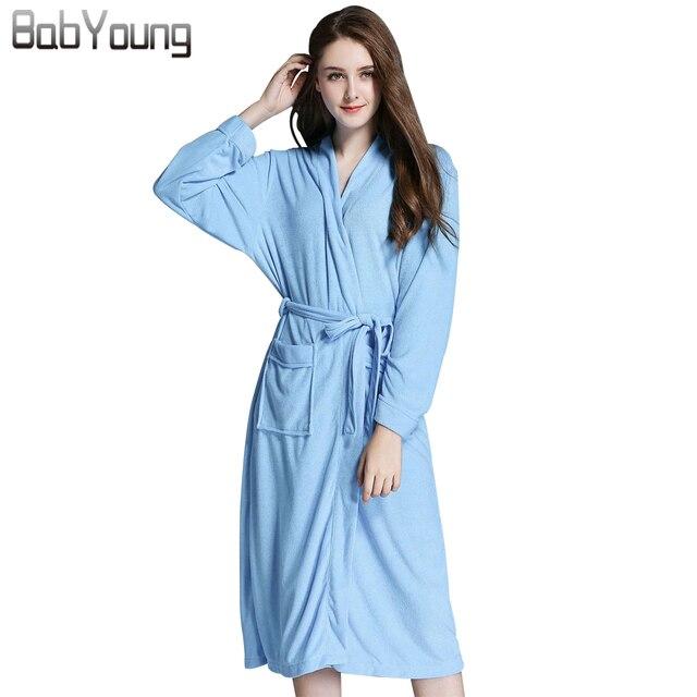 39732bc9cd6 BabYoung 2018 Women Robes Morningdress Cotton Polyester Bath Robes Long  Sleeve Gowns Pajamas Sleep Dress Female Pijamas Mujer