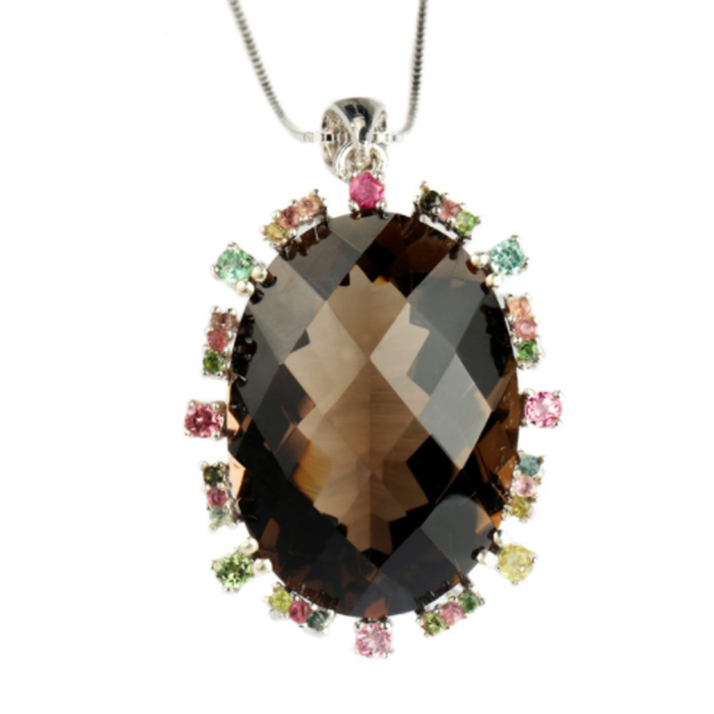MELE Natural smoky quarts silver pendant big oval 20mm 28mm bright colorful tourmaline more beautiful than