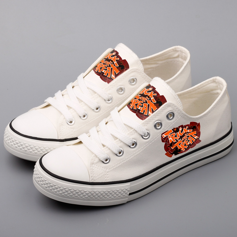 Harajuku Design Men Casual Canvas Shoes Graffiti Halloween Monsters Witch Printed Shoes Flat Oxford Shoe For Halloween Gifts brand quality the walking dead canvas shoes printed women casual flat shoes diy couples and lovers valentine gifts graffiti shoe