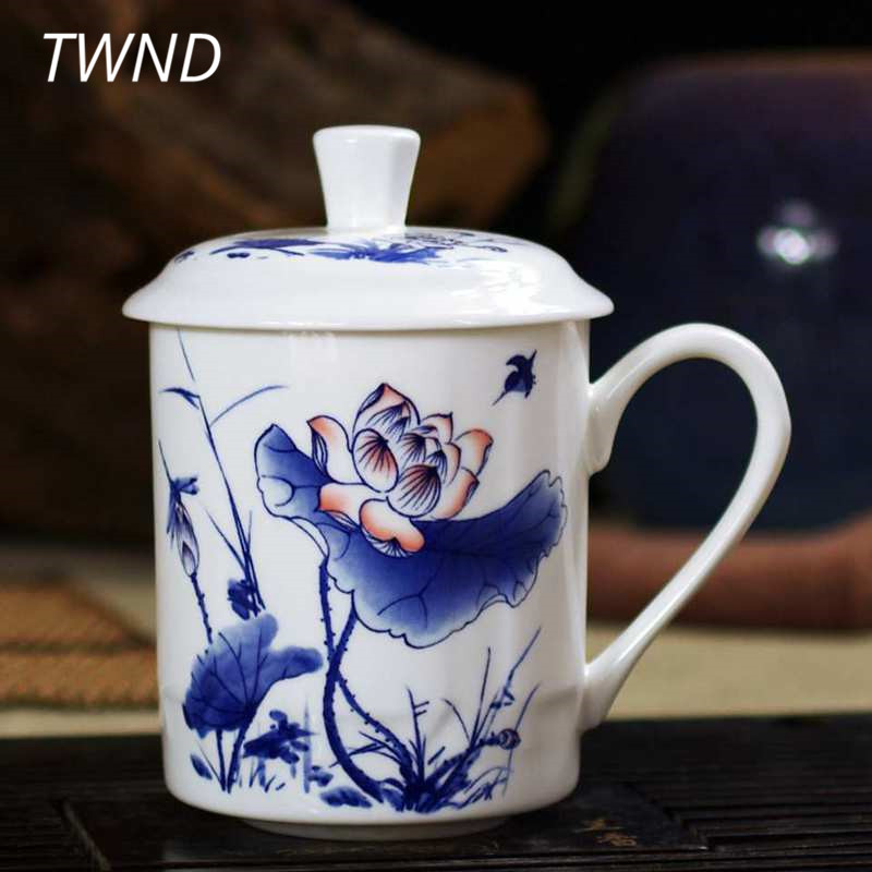 500CC bone china tea cups with cover blue and white water mugs office home drinkware friend gifts 13