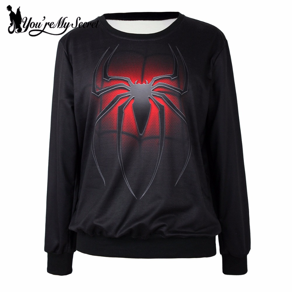 [You're My Secret] Autumn Winter Fashion Black Moleton Feminino Long Sleeve Hoodies 3D Digital Printed Loose Spider Sweatshirt