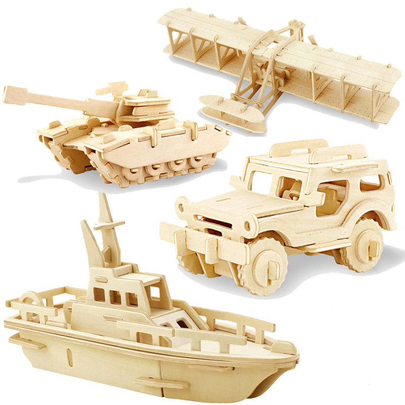 3D DIY Wood Puzzle Toy Military Series Tank Vehicle Model Set Creative Assembled Education Puzzle Toys Gifts For Children Kids 1