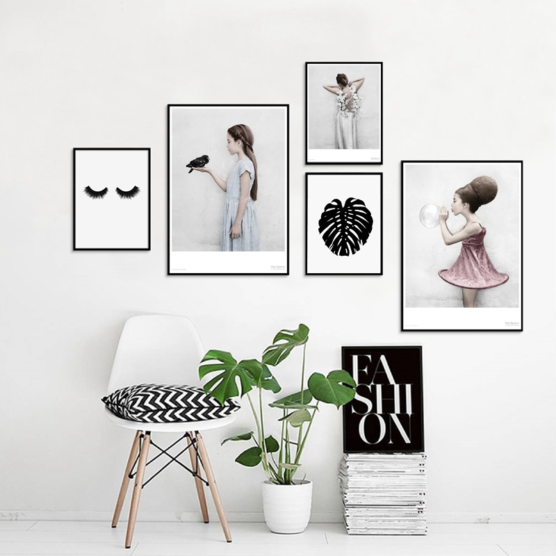 HJIAART Nordic Style Beautiful Girls Canvas Art Prints and Poster Pretty Girl Back Wall Picture Canvas Art Painting Home Decor
