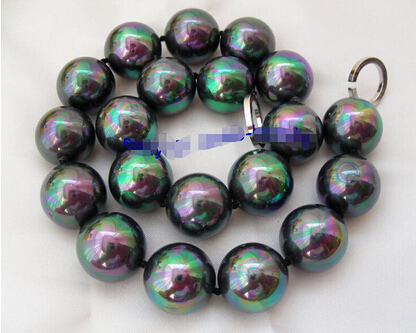 big 20mm round black south sea shell pearls necklace