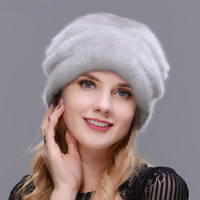 Christmas Hat Mink Whole Skin Making High Quality Fur Cap Mink Ball No Eaves Fur Hat Woman Winter Warm Ear Holiday fur Hat