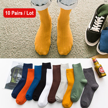 10pairs/lot Casual Crew Sock Men Cotton Men Socks Long Leg Business Gray Blue Black Stripe Crew Socks Autumn Winter