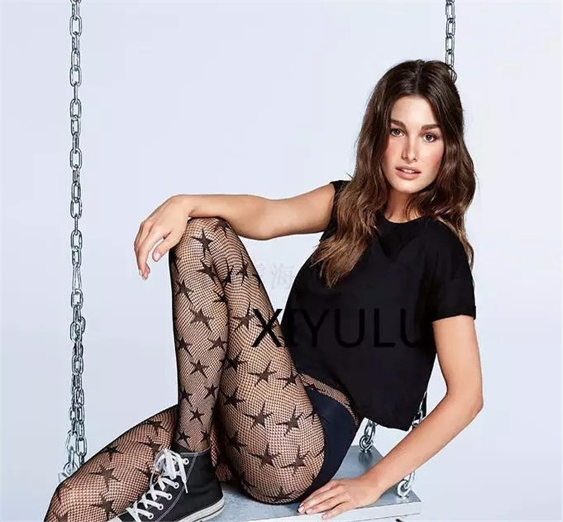 Women Sexy Stockings Tights Fishnet Pantyhose Female Stars Sheer Black Fashion Plus Size Street For Girls Mesh Hollow Out SW108