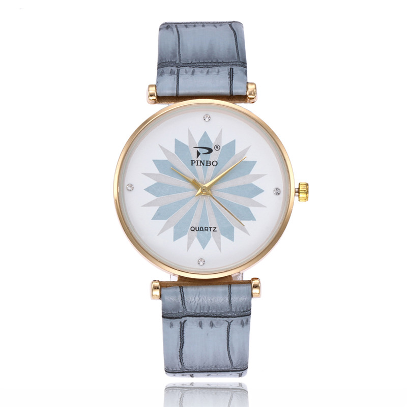 FUNIQUE Minimalist Women Watch Sweet Quartz Analog Leather Clock Montre Homme Flower Pri ...