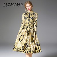High Quality 2018 Autumn Fashion Designer Runway Dress Women Long Sleeve Turn down collar Print Elegant Midi Pleated Dress