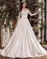 Dreagel Elegant Long Sleeves V-neck Satin A-line Wedding Dresses 2017 Glamorous Lace Appliques Sashes Bride Gown Robe de Mariage
