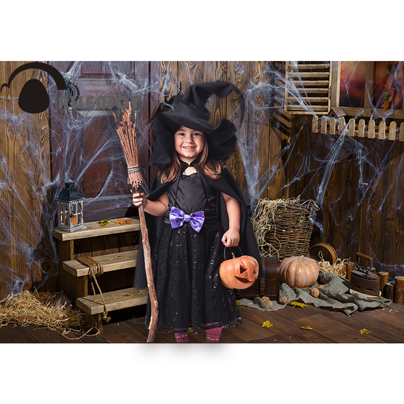 Allenjoy photography background Halloween spider wood warehouse child pumpkin window backdrop photophone photocall photoshoot in Background from Consumer Electronics
